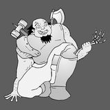 Fat warrior illustration Stock Image