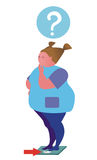 Fat woman. On the scales.Illustrations Royalty Free Stock Photo