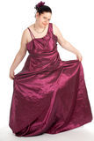 Fat woman in ball dress Royalty Free Stock Photography