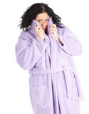 Fat woman in bathrobe Stock Photos
