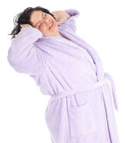 Fat woman in bathrobe Royalty Free Stock Photos