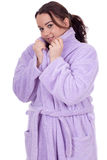 Fat woman in bathrobe Stock Image