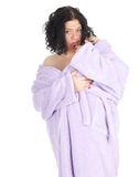Fat woman in bathrobe Royalty Free Stock Images