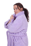 Fat woman in bathrobe Stock Photo