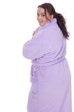 Fat woman in bathrobe, series Stock Photos