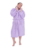 Fat woman in bathrobe, series Royalty Free Stock Photos