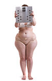 Fat woman with bathroom scales Stock Photography