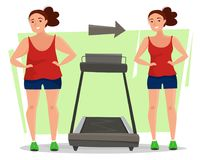 Fat woman becomes thin on running treadmill in gym. Girl before and after training. Flat cartoon style vector illustration Royalty Free Stock Photography