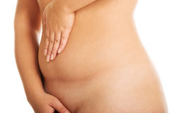 Fat woman belly Royalty Free Stock Images