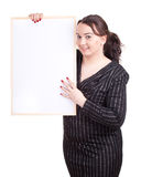 Fat woman with blank sign, billboard Stock Photo