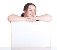 Fat woman with blank sign, billboard Stock Image