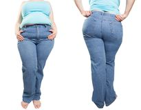 Fat woman in blue jeans isolated on white background. Diet conce. Woman in blue jeans isolated on white background from fat to thin. Diet concept. overweight Royalty Free Stock Image