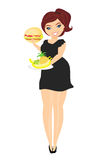 Fat woman choosing between fruit and hamburger. Royalty Free Stock Photography