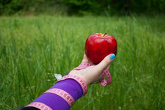 Fat woman close-up of the right hand holds a large red apple white blue butterfly sits on the hand stock photography