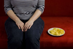 Fat woman diet Stock Photo