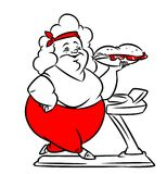 Fat woman diet  treadmill running cartoon illustration Royalty Free Stock Photos