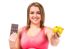 Fat woman dieting Royalty Free Stock Images