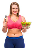 Fat woman dieting Stock Photos