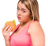Fat woman dieting Royalty Free Stock Photos