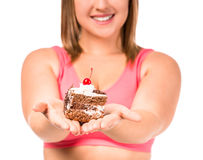 Fat woman dieting Stock Photo