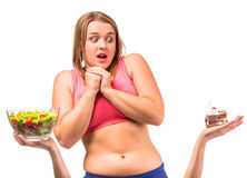 Fat woman dieting Royalty Free Stock Image