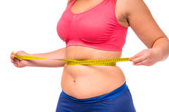 Fat woman dieting. Fat woman unhappy with her body, the diet, the body measures the isolated white background royalty free stock photography