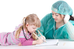 Fat woman doctor exam little girl Royalty Free Stock Photo