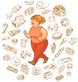 Fat woman dreams of high-calorie foods Royalty Free Stock Photo