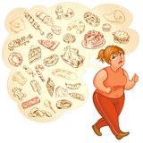 Fat woman dreams of high-calorie foods, goes for a jog Stock Photo