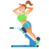 Fat woman engaged gym. Thick positive adult woman has been in the gym for sports. Burn calories, lose weight royalty free illustration