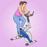 Fat woman on exercise bike pop art style vector Royalty Free Stock Image
