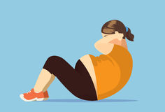 Fat woman exercise with doing sit up. Illustration about lose weight Stock Images