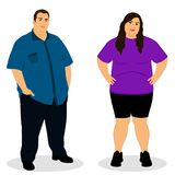 Fat woman. Fat man. Thick couple. royalty free illustration