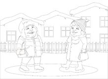 Woman and man walking in a small winter town Royalty Free Stock Images