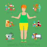 Fat woman figure unhealthy lifestyle vector flat infographic. Flat fat unhealthy lifestyle vector infographics concept. Thick woman female human figure front Stock Images