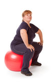 Fat woman fitness Royalty Free Stock Images