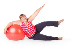 Fat woman fitness Royalty Free Stock Photography