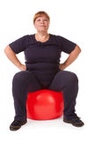 Fat woman fitness Royalty Free Stock Photos
