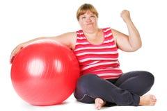 Fat woman fitness Stock Photo