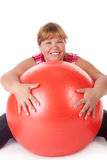 Fat woman fitness Stock Images