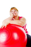 Fat woman fitness Royalty Free Stock Photo