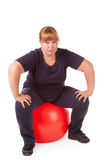 Fat woman fitness Royalty Free Stock Image