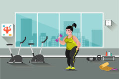 Fat woman in the gym. Fitness colored composition with woman in the gym royalty free illustration