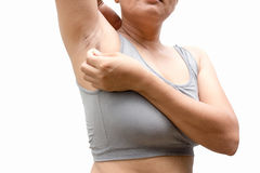 Fat woman. Hairy armpits of woman who do not want problems Stock Image