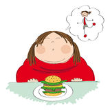 Fat woman with hamburger, dreaming about slim figure Royalty Free Stock Photography