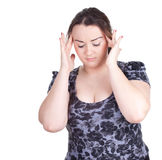 Fat woman with headache Royalty Free Stock Photography