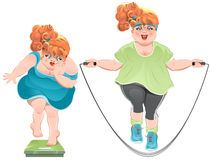 Fat woman with horror looks at the scales, and then jumps on a skipping rope Stock Photos