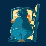 Fat woman lady and a night open fidge Stock Photo