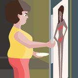 Fat woman looking into fridge at night vector cartoon Royalty Free Stock Photos