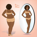 Fat woman looking in mirror and seeing herself as slim vector illustration
